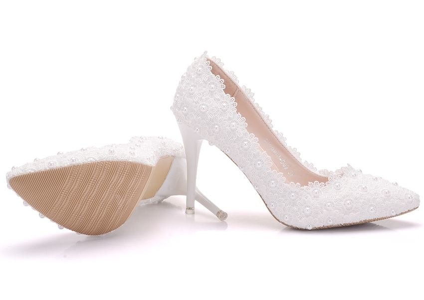 Pearls Wedding Shoes Bride