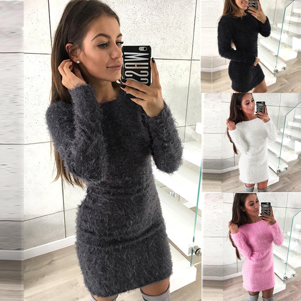 Women Winter Long Sleeve Solid Sweater Fleece Warm Basic Mini Dress