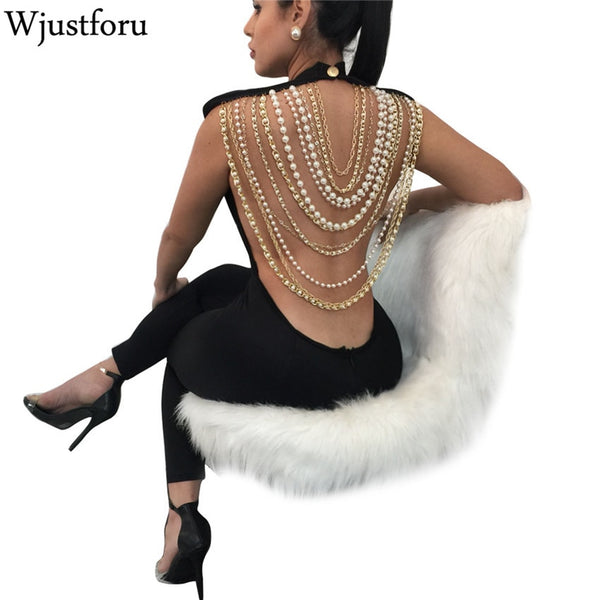 Sexy Chain Backless Jumpsuit Club Wear