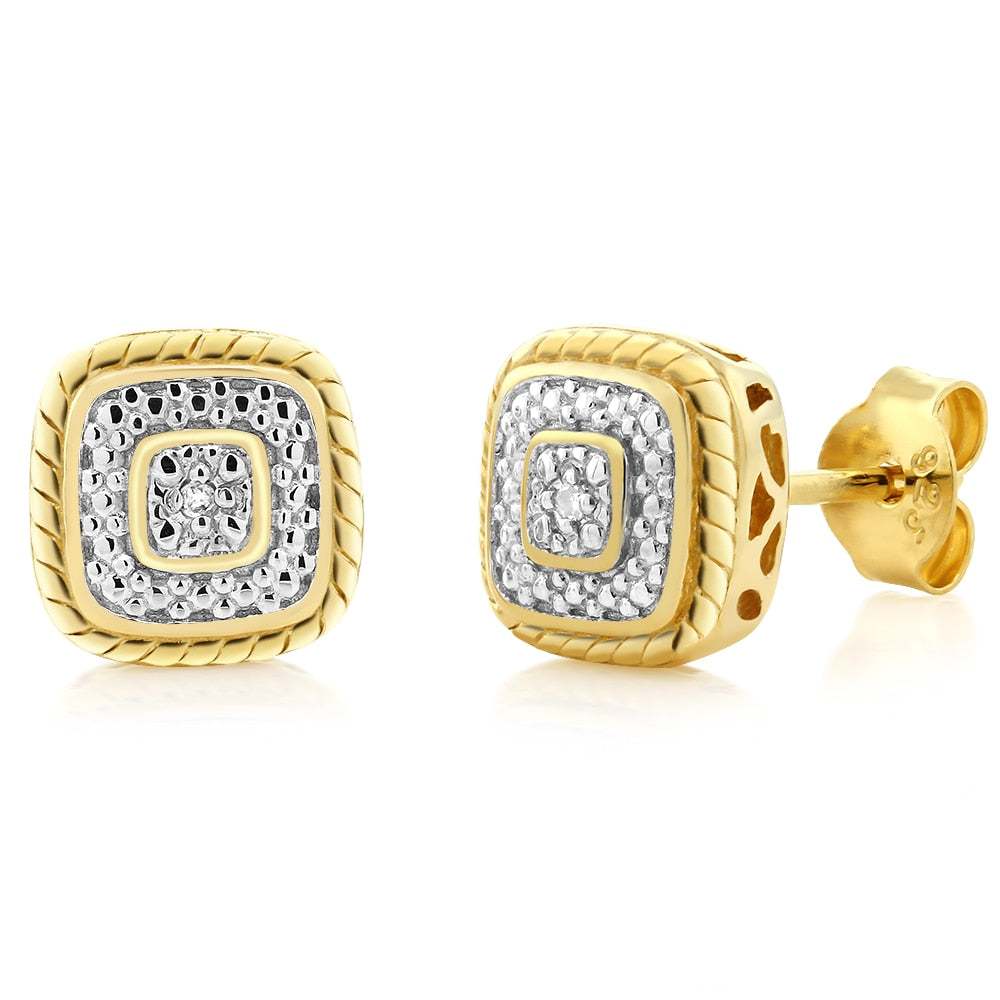 Yellow Plated Gold  Diamond earrings For Women