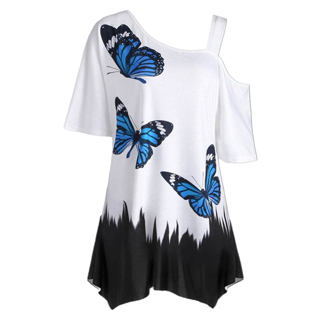 Short Sleeve Women Tops One Shoulder
