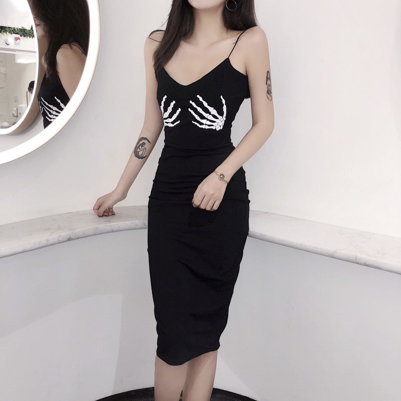Women Black Party Dress Skull Hand Printing
