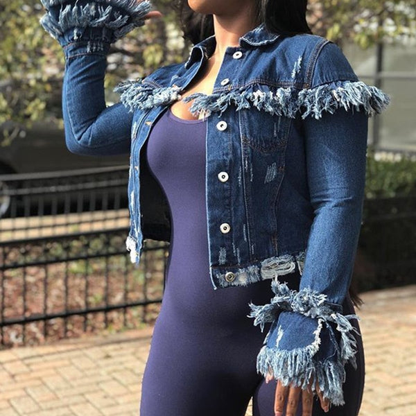 Long Sleeve Winter Tassel Denim Jacket