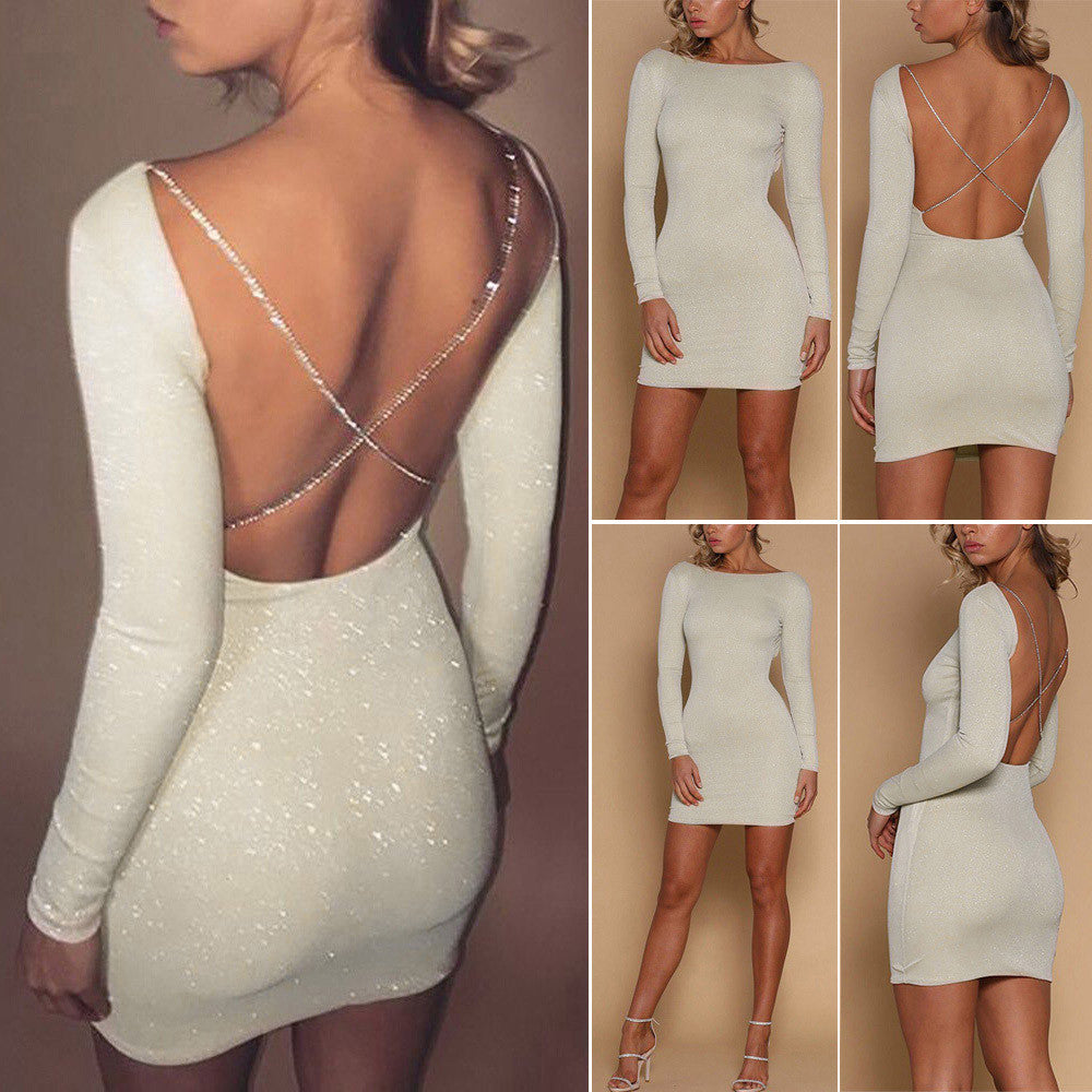Women Sexy Backless Shiny Bodycon Dress Lady Evening Party Mini Dress