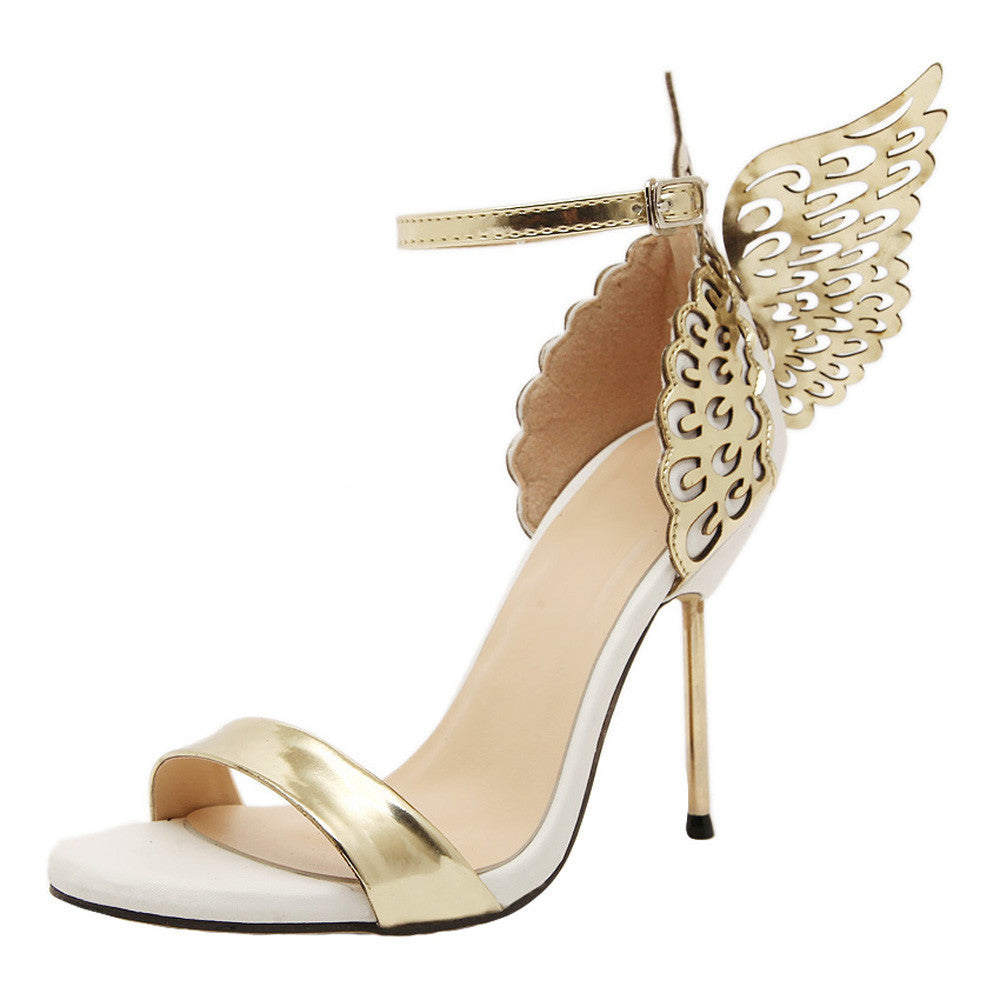 Fashion Women Valentine Shoes Bronzing Sequins High Heels Sandals