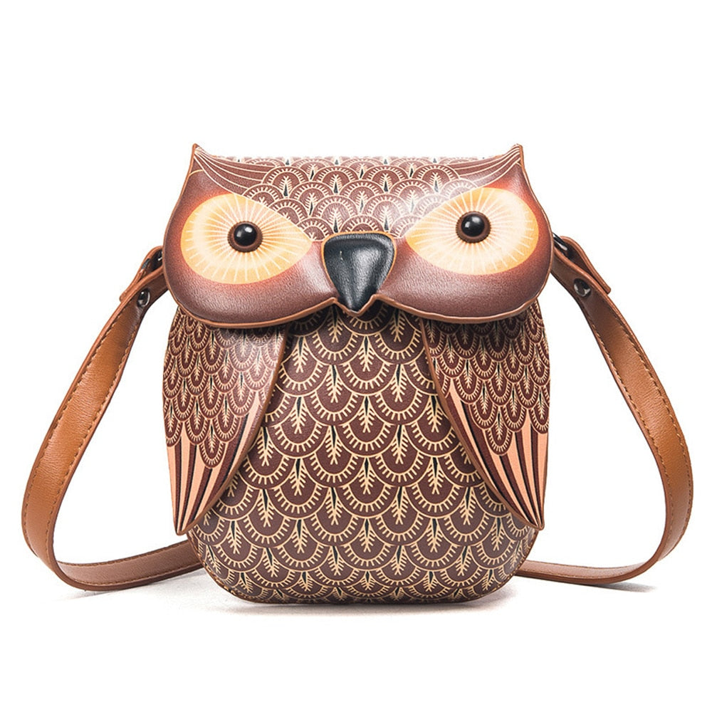 Women Animal Cute Women Leather Owl Bags