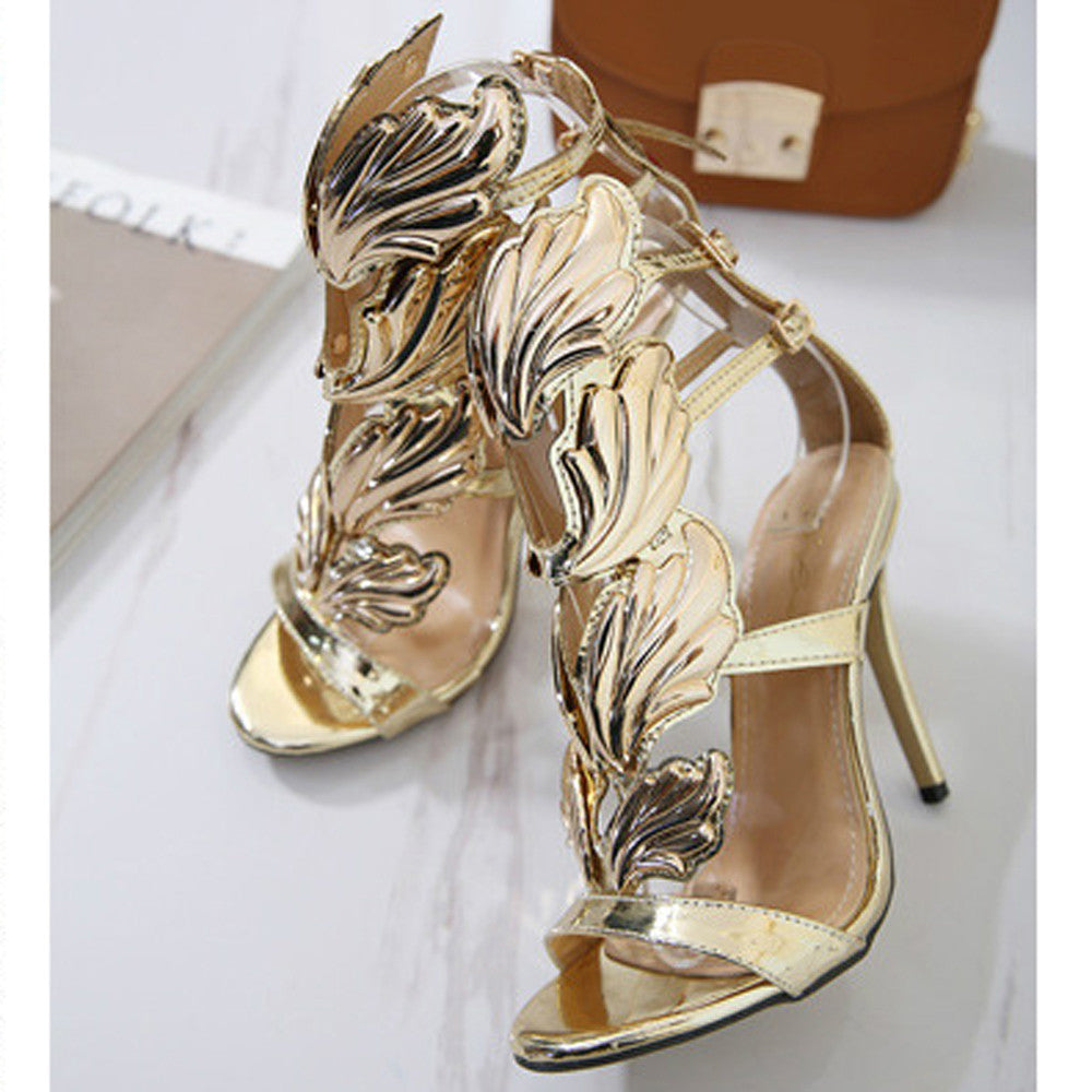 Women Pumps Leaf Flame High Heel Shoes Sexy Peep