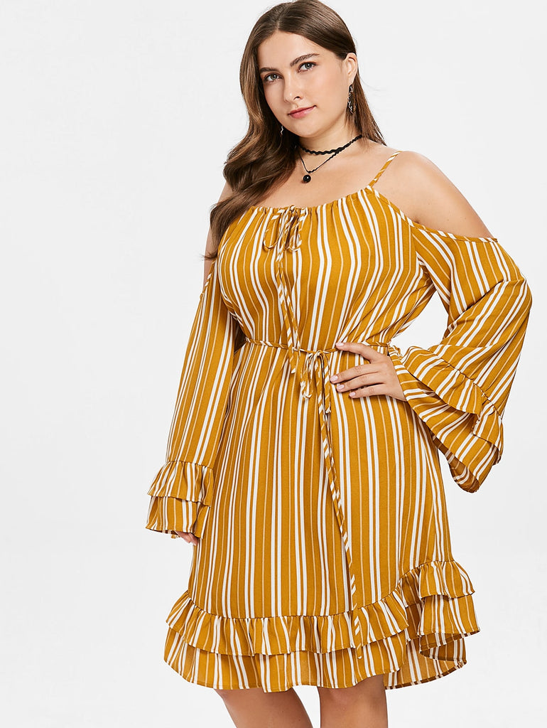 Fall Striped Cold Shoulder