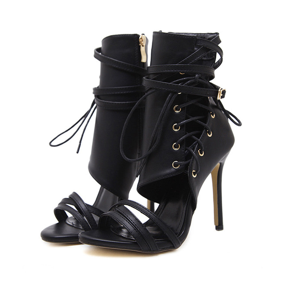 Sexy Black High Heels Sandals Ankle Boots