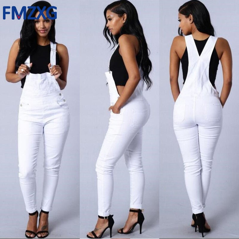 Denim Jumpsuit White Work wear Jeans Jumpsuit