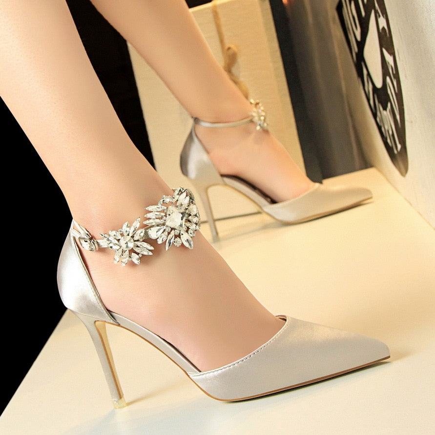 crystal high heels buckle strap