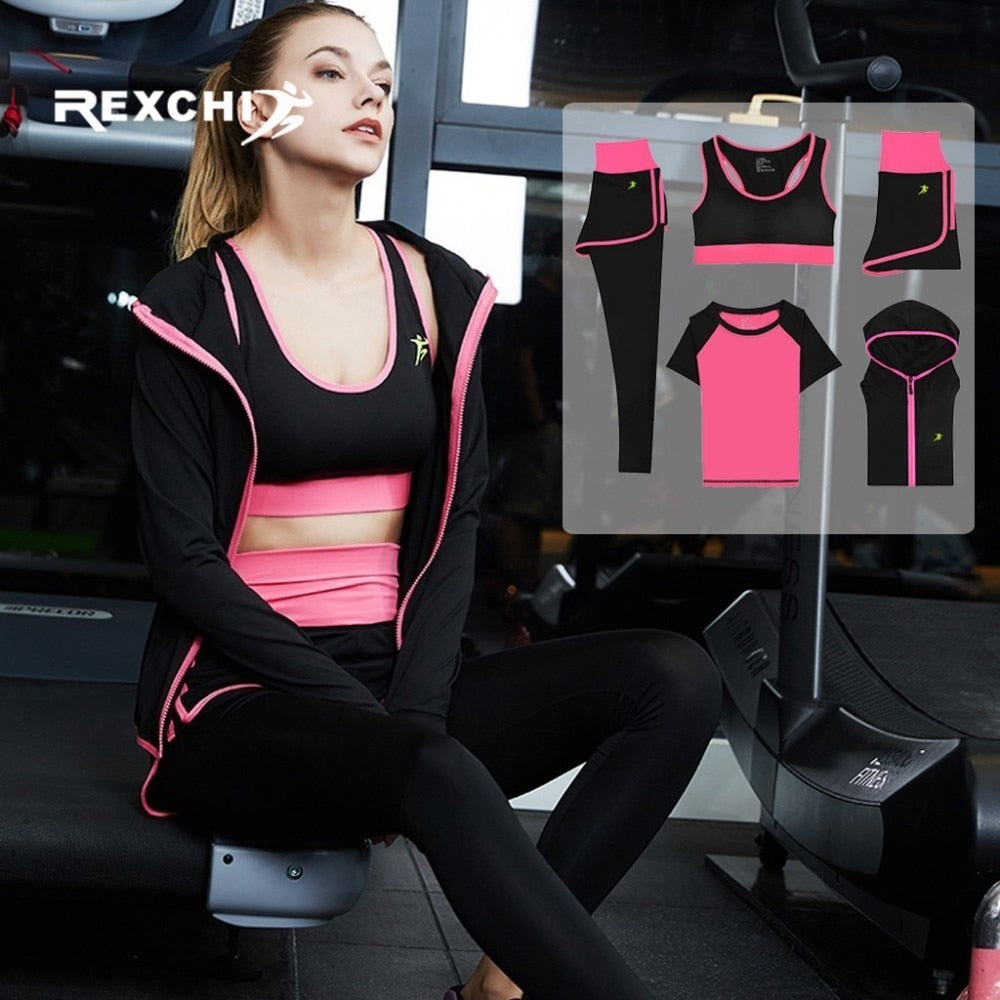 5Pcs Women Yoga Set Gym Fitness Quick Dry