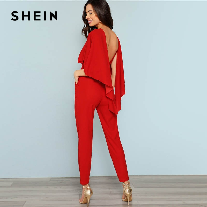edc53836d8 SHEIN Red Open Shoulder Solid Cape Jumpsuit – Putshy
