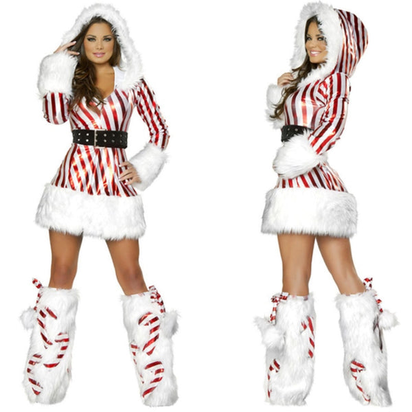Long Sleeve Striped Santa Christmas Dress