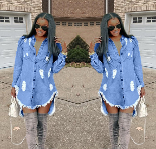 Women Street Wear Denim Mini Dress