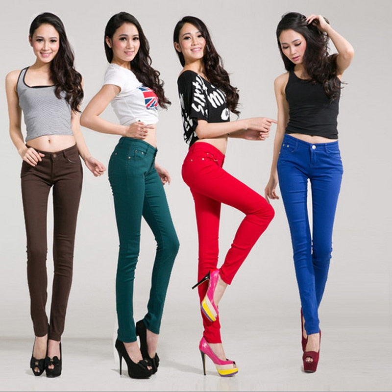 Women's Color Pants Pencil Trouser Mid Waist Pants For Women Slim skinny jeans pants