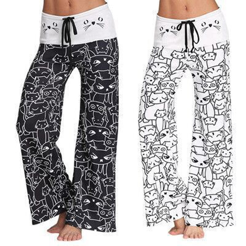 white and black Women Wide Leg Pants Cat Printed