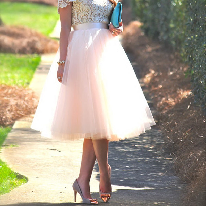Lace Up Ball Gown Midi Tulle Skirt