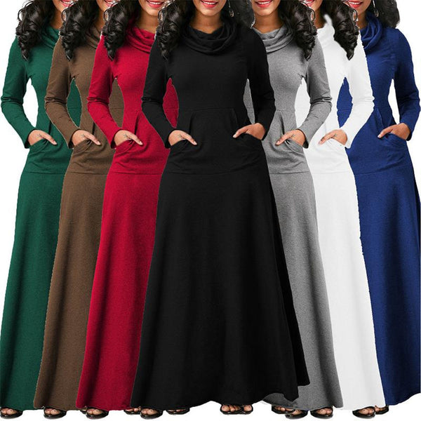 Casual Solid Long Sleeve Vintage Maxi Dress
