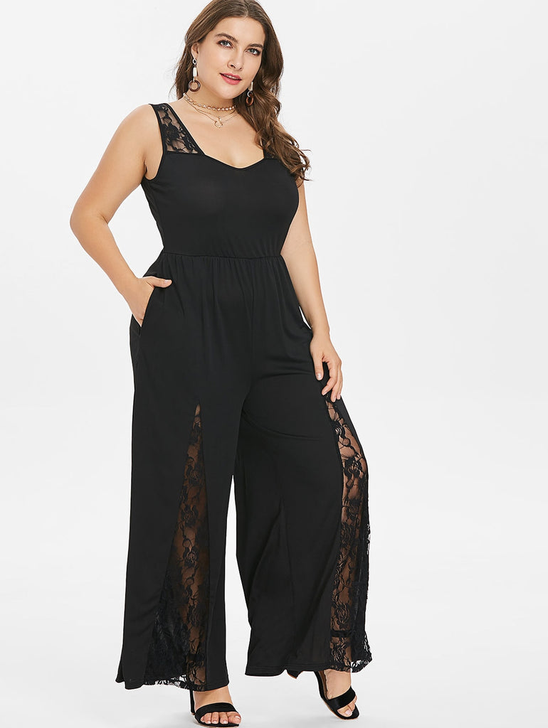 Women Plus Size Lace Jumpsuit