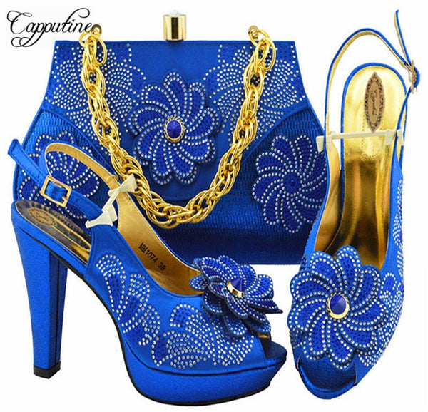 Cute Flower Stone Shoes And Bag Italian Pumps