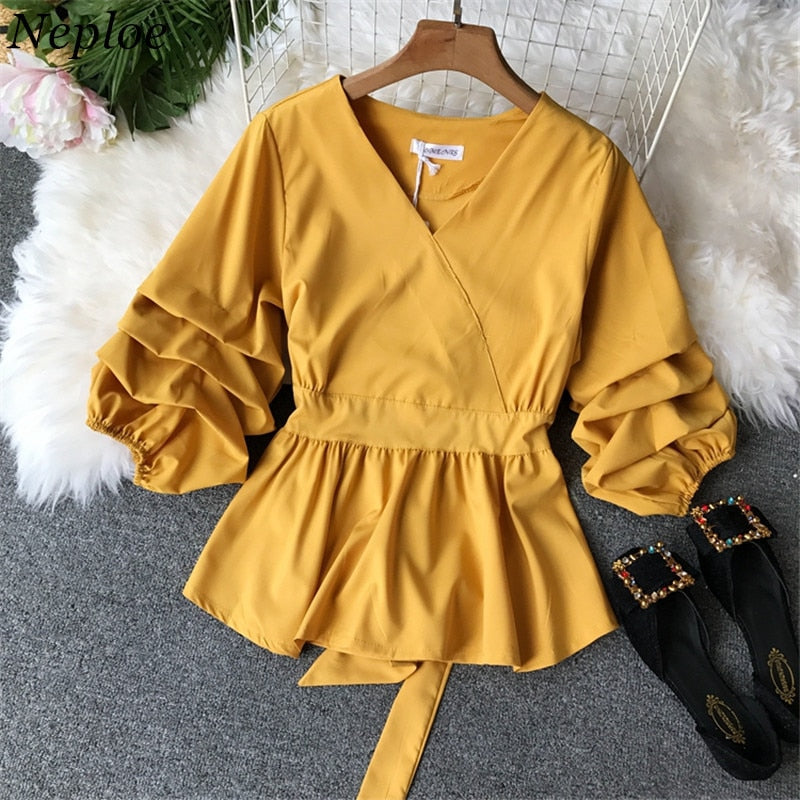 Waist Puff Sleeve Women Blouse Elegant Female Top 2019