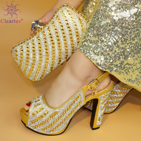Italian Rhinestones Pumps Women Shoes And Bag Set