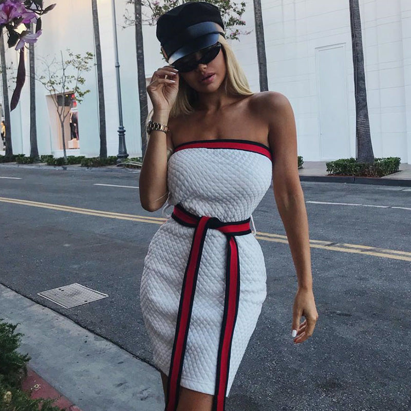 Strapless Off Shoulder Mini Dress