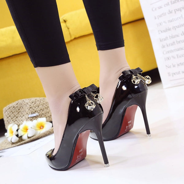 Mouth Bow shoes pointed High Heels