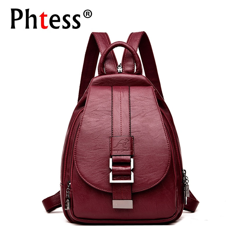 Women Leather Backpacks Female Shoulder Bag 2019