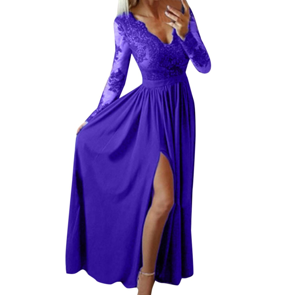 Deep V-Neck Lace Long Sleeve Evening Party Dress
