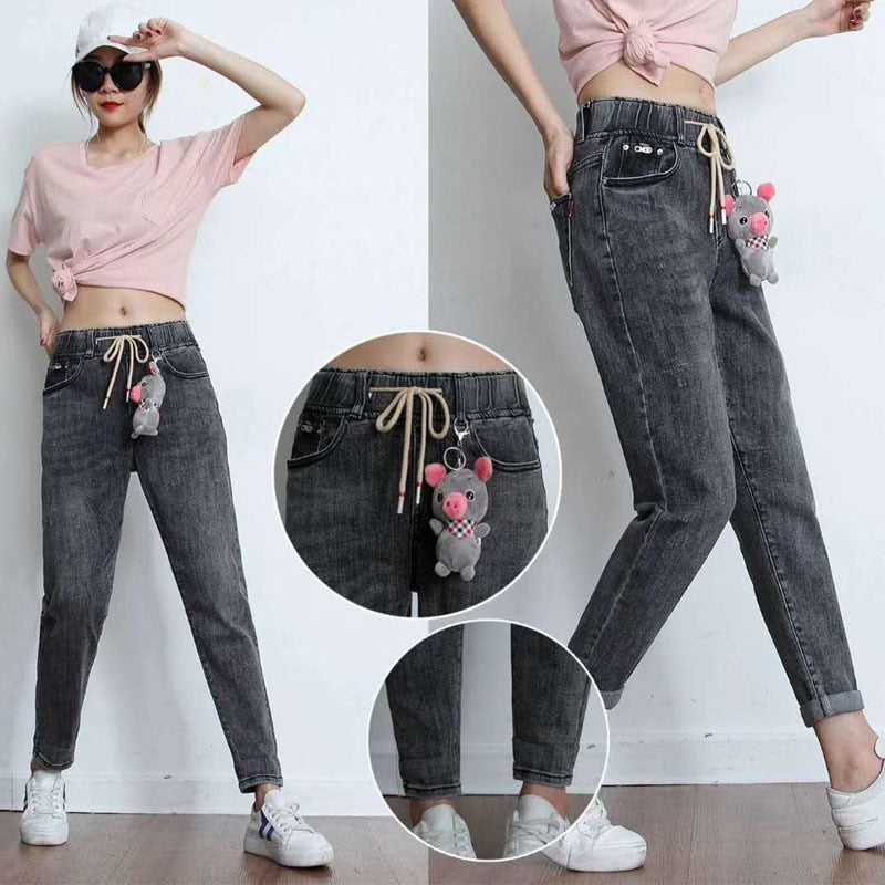 Jeans pants women Elastic high waisted
