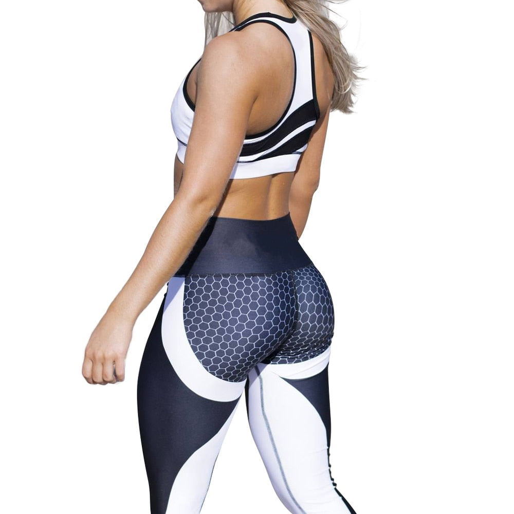 white and black Sexy Shaping Yoga Pants