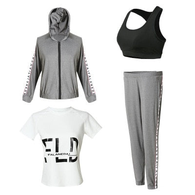 Jacket Pants Shirts Bra Set Fitness Sportswear
