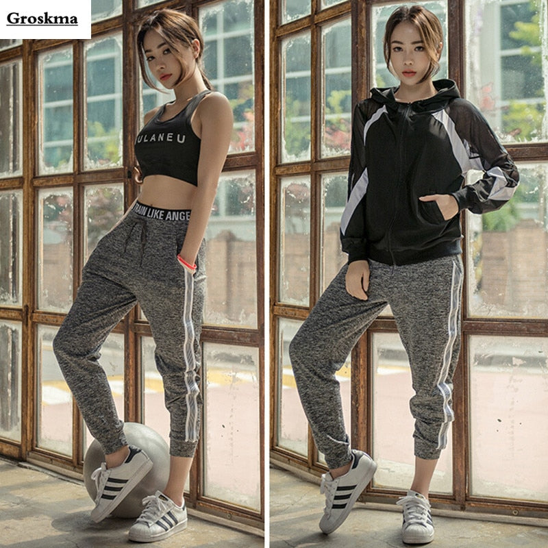 pieces jacket sexy bra pants sports training workout