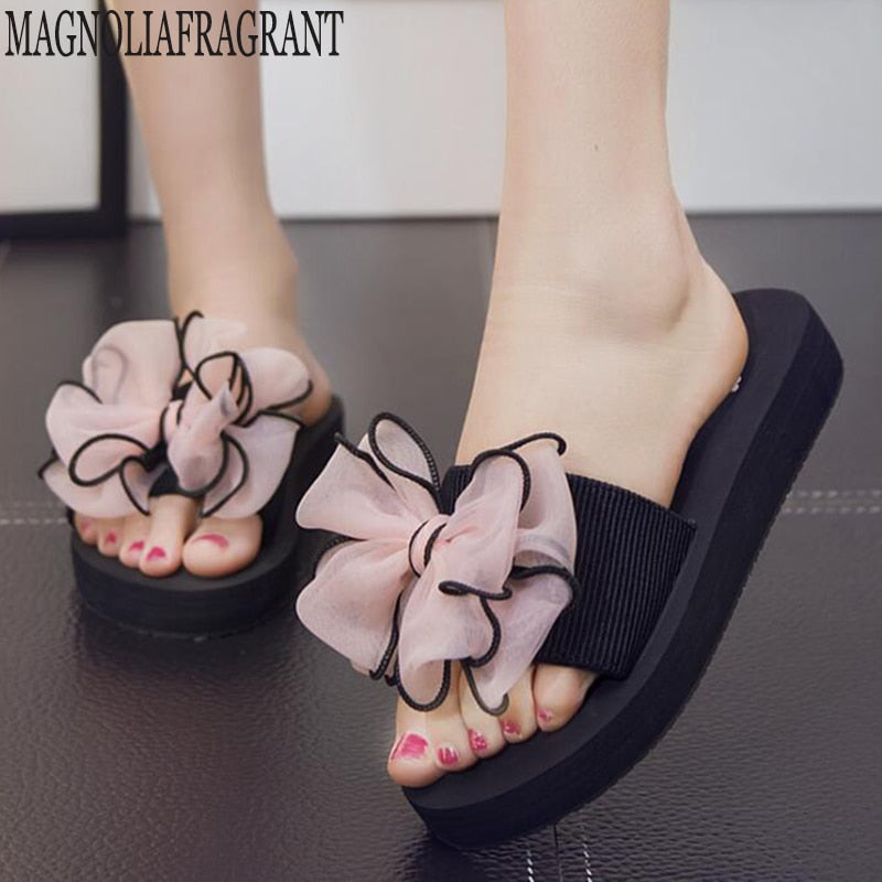 Summer slippers Women Flip Flops Bow Flat Heel Sandals Beach Shoes