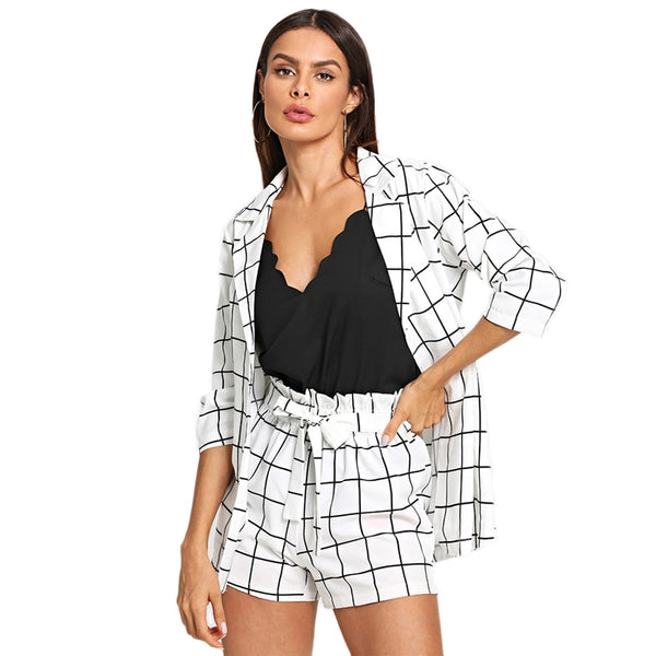 Black and White Plaid Notched Blazers With Self Tie Waist 2 Piece