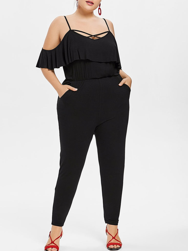 Sexy Casual Jumpsuit Cross