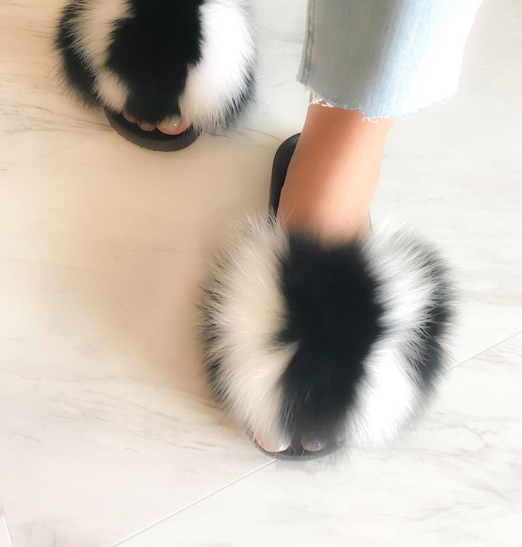 Women's Fox Hair Slippers