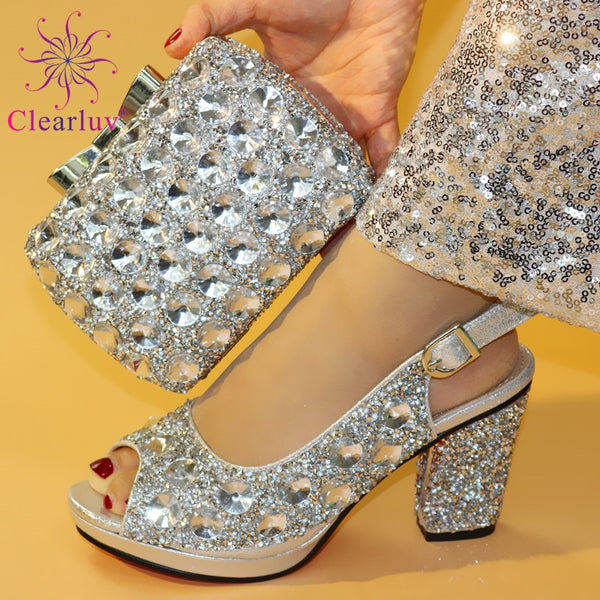 New Fashion women party Italian shoes and bag