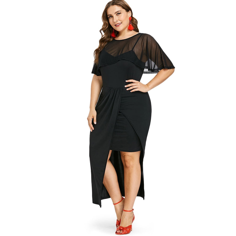 Party Plus Size Women Round Neck Short Sleeve Dress