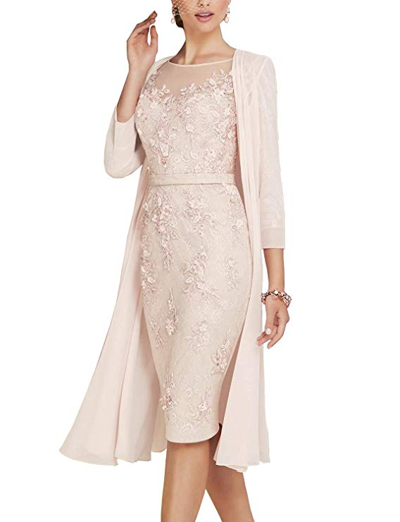 Mother Of The Bride Elegant Lace  Dress With Chiffon Tea Length 3/4 Sleeve
