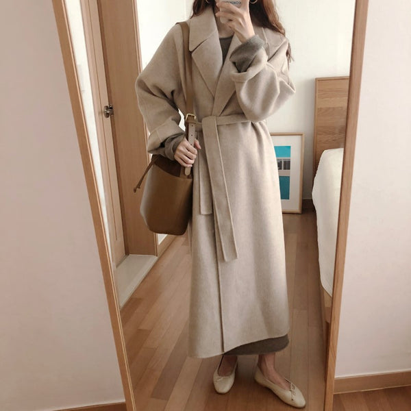 Elegant Korean Winter Long Overcoat