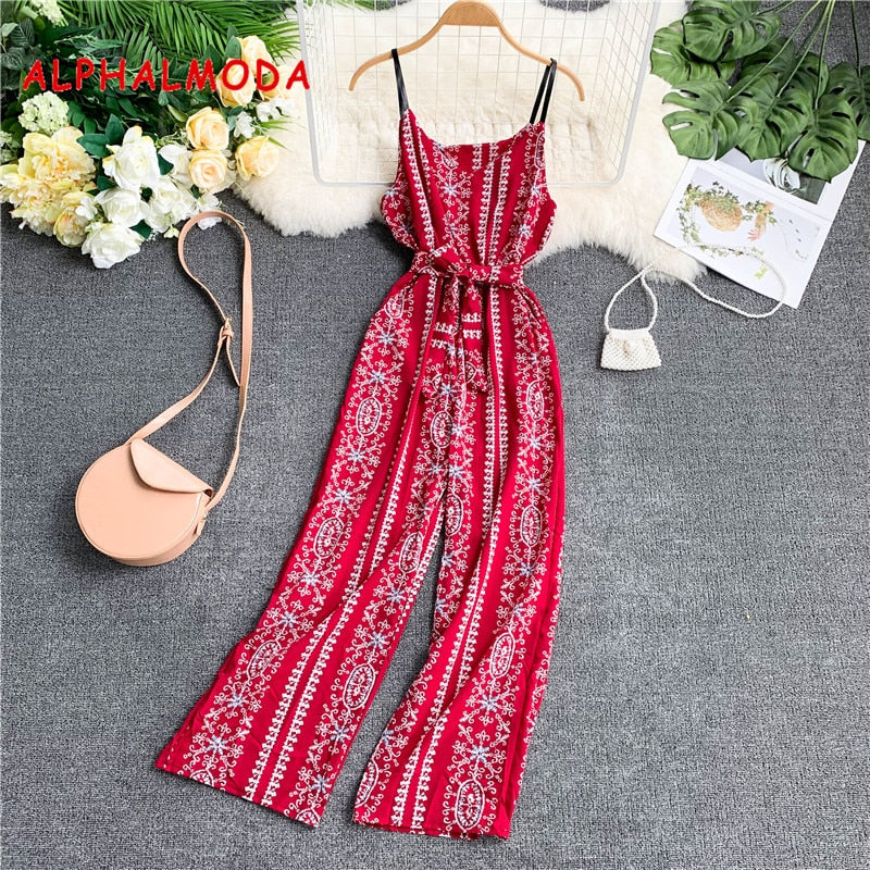 Casual Retro Printed Rompers Jumpsuits