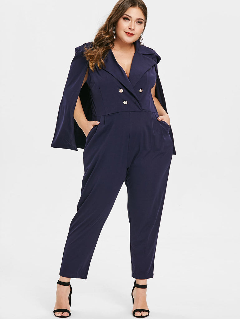 Double Breasted Cape Jumpsuit Romper