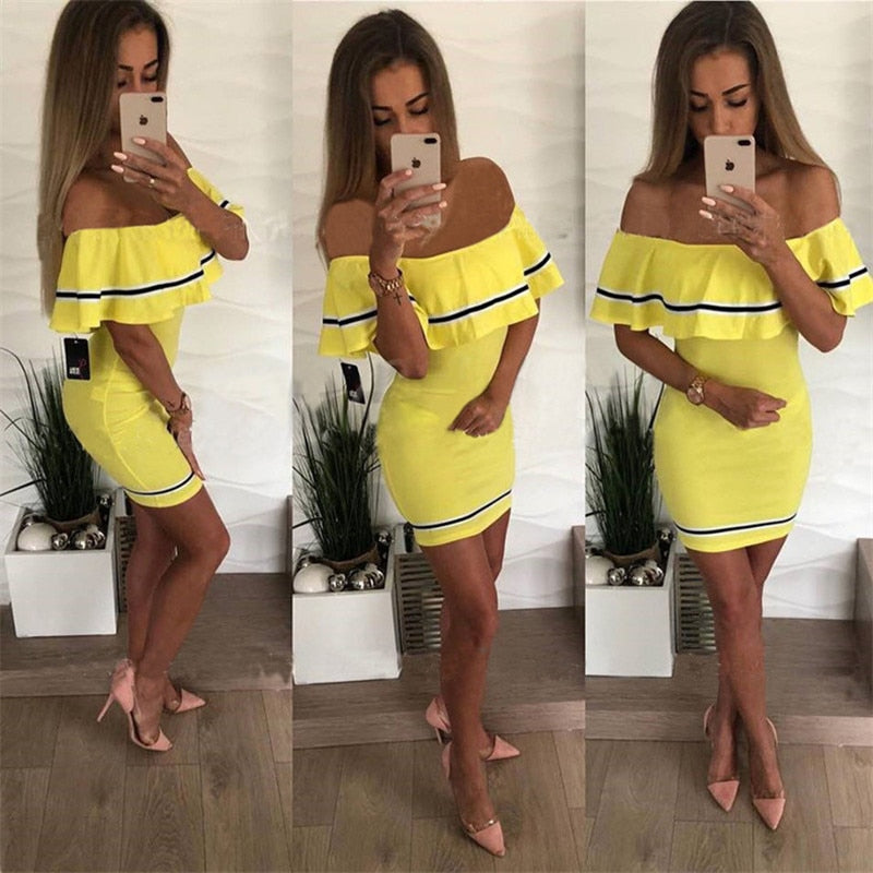 Off Shoulder Party Dress Women Fashion