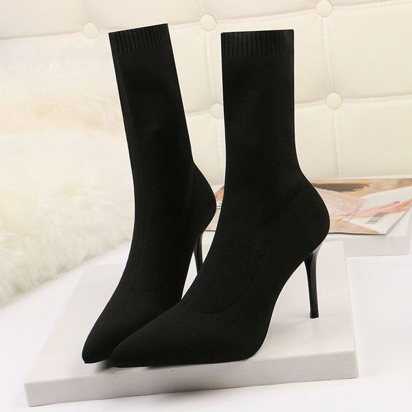 Sexy High Heels Sock Stretch Ankle Booties