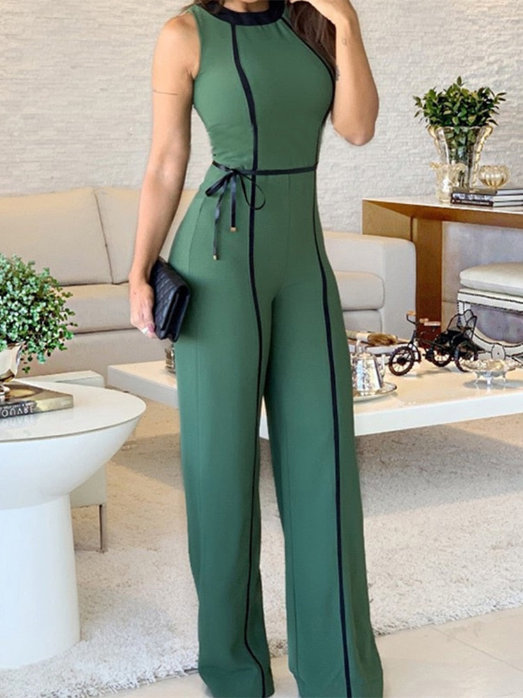 Office Lady Wide Leg Jumpsuit