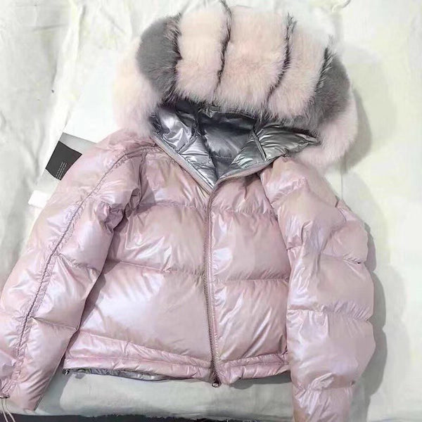 Thick Warm Real Fur Coat Natural Fox Fur Collar Winter Jacket