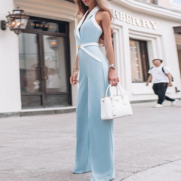 Elegant Work wear  Rompers Wide Leg Jumpsuit